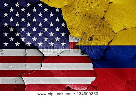 Flags Of Usa And Colombia Painted On Brick Wall