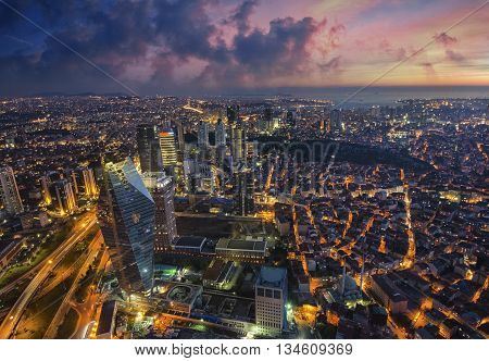Aerial Night Panoramic View Of Istanbul, Turkey