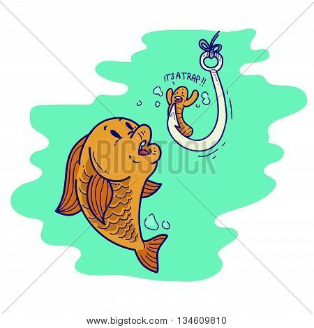 Illustration of a cartoon fishing bait worm