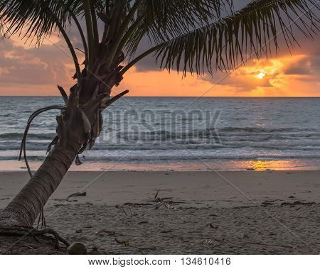 Sunrise view at Four Mile Beach, out to the Coral Sea, in Port Douglas, Queensland, Australia.