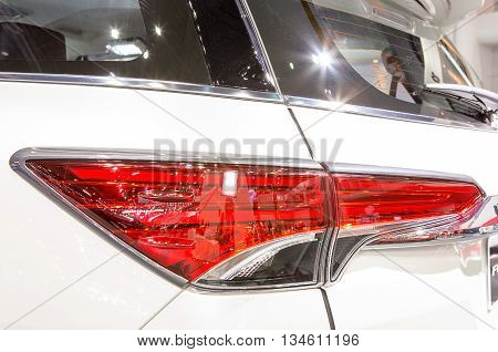 Bangkok - March 22 : brake light of white Toyota series Furtuner - in display at The 37th Bangkok international Motor Show 2016 on March 22 2016 in Bangkok Thailand