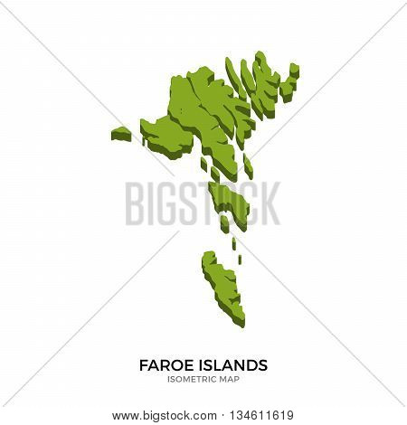 Isometric map of Faroe Islands detailed vector illustration. Isolated 3D isometric country concept for infographic