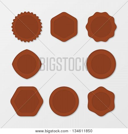Set of Brown Stamps. Distressed Stamp Texture . Post Stamp Collection . Vector Stamps . Circle Stamps . The concept for your business, web sites, presentations, advertising etc.