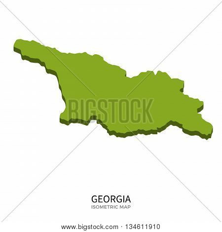 Isometric map of Georgia detailed vector illustration. Isolated 3D isometric country concept for infographic