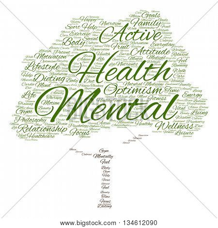 Concept or conceptual mental health or positive thinking abstract tree word cloud isolated on background