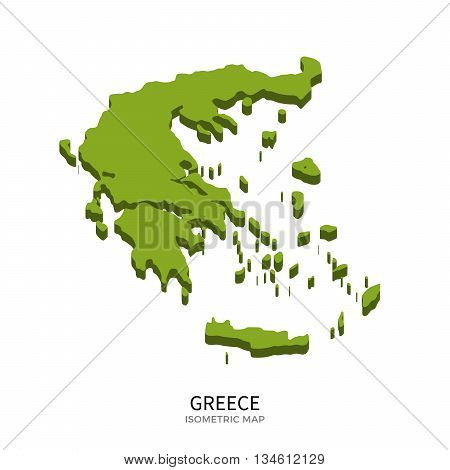 Isometric map of Greece detailed vector illustration. Isolated 3D isometric country concept for infographic