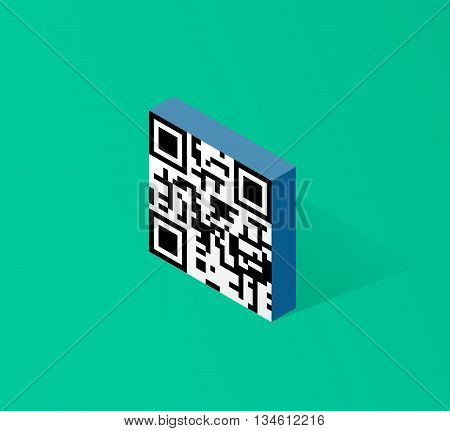 Qr code icon in isometric 3d style modern design vector illustration isolated on green background