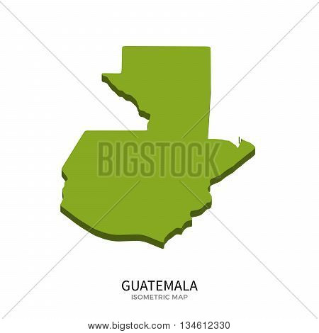 Isometric map of Guatemala detailed vector illustration. Isolated 3D isometric country concept for infographic