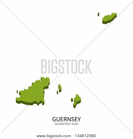 Isometric map of Guernsey detailed vector illustration. Isolated 3D isometric country concept for infographic