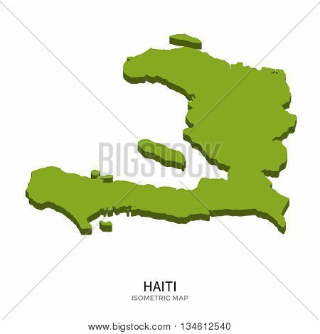 Isometric map of Haiti detailed vector illustration. Isolated 3D isometric country concept for infographic