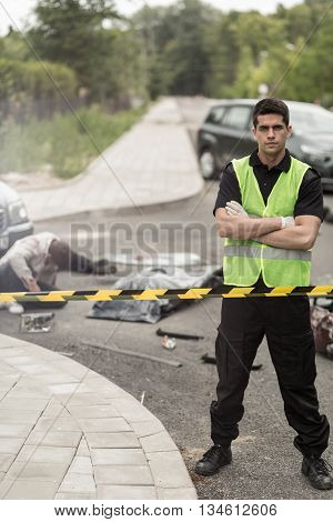 Towing Service Worker And Car Crash