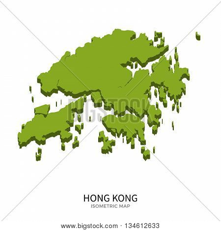 Isometric map of Hong Kong detailed vector illustration. Isolated 3D isometric country concept for infographic