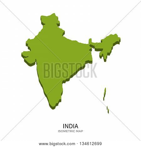 Isometric map of India detailed vector illustration. Isolated 3D isometric country concept for infographic