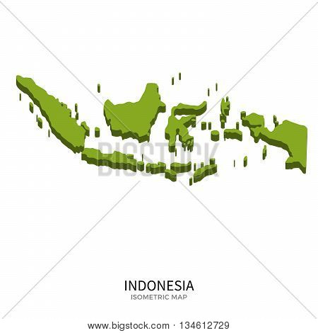 Isometric map of Indonesia detailed vector illustration. Isolated 3D isometric country concept for infographic