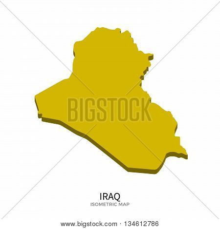 Isometric map of Iraq detailed vector illustration. Isolated 3D isometric country concept for infographic