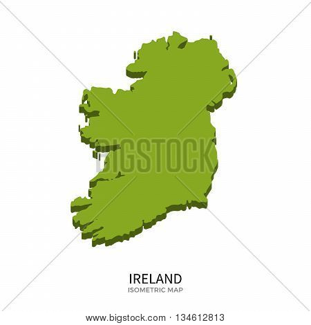 Isometric map of Ireland detailed vector illustration. Isolated 3D isometric country concept for infographic