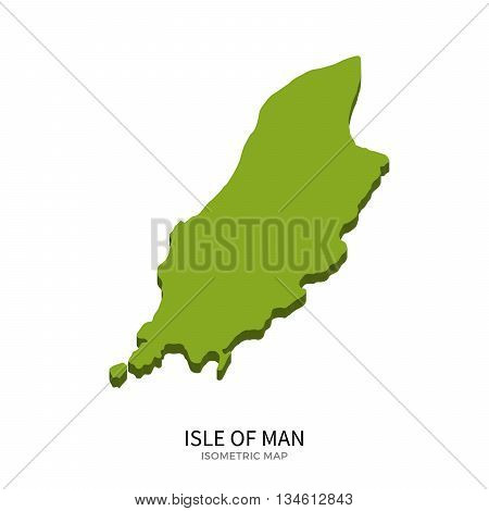 Isometric map of Isle of Man detailed vector illustration. Isolated 3D isometric country concept for infographic
