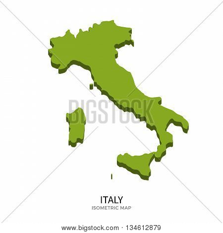Isometric map of Italy detailed vector illustration. Isolated 3D isometric country concept for infographic