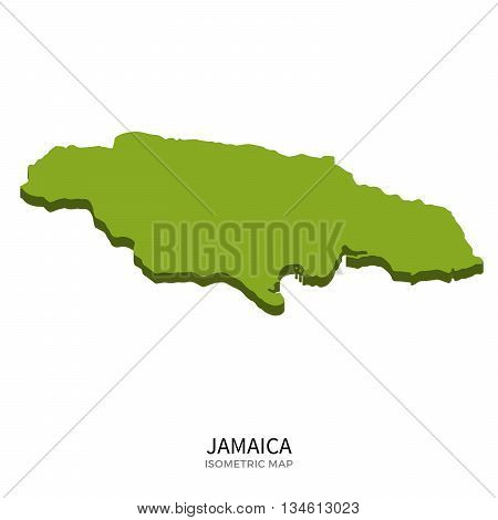 Isometric map of Jamaica detailed vector illustration. Isolated 3D isometric country concept for infographic