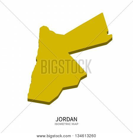 Isometric map of Jordan detailed vector illustration. Isolated 3D isometric country concept for infographic