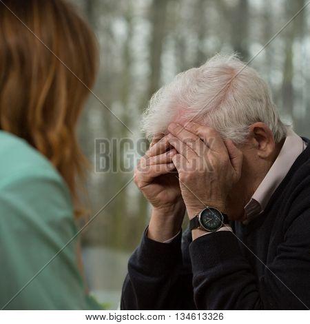 Elder Man Crying