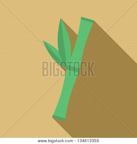 Green bamboo stem icon in flat style on a beige background