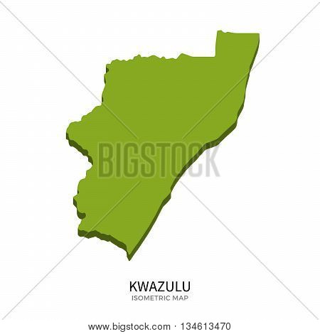 Isometric map of KwaZulu detailed vector illustration. Isolated 3D isometric country concept for infographic