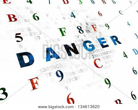 Security concept: Pixelated blue text Danger on Digital wall background with Hexadecimal Code