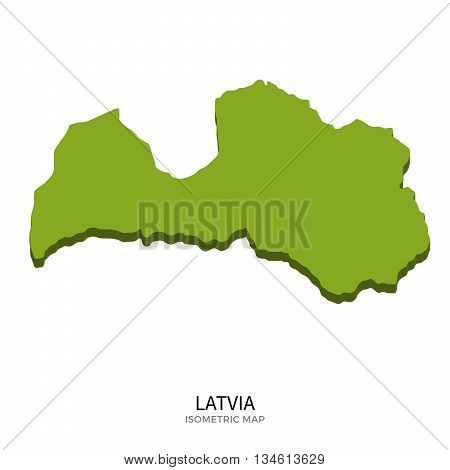 Isometric map of Latvia detailed vector illustration. Isolated 3D isometric country concept for infographic