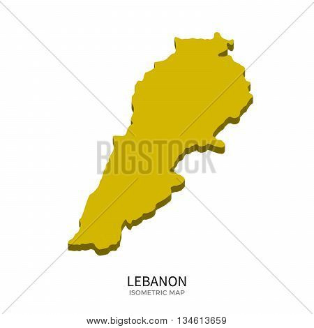 Isometric map of Lebanon detailed vector illustration. Isolated 3D isometric country concept for infographic