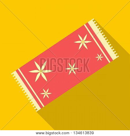 Red towel icon in flat style on a yellow background