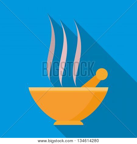 Orange mortar and pestle with steam icon in flat style on a blue background