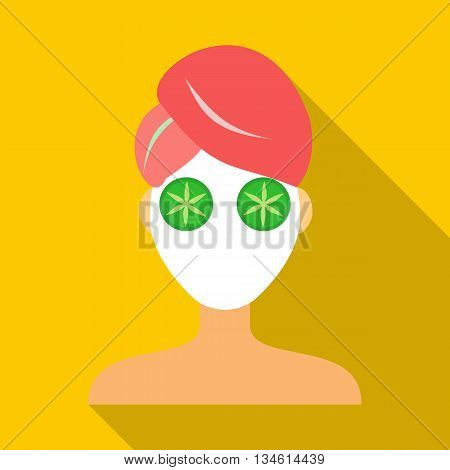 Spa facial clay mask icon in flat style on a yellow background