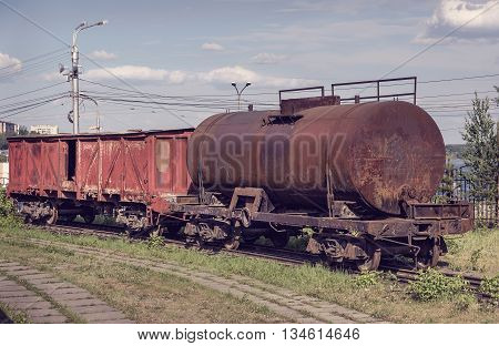 Old Covered Goods Wagon And Tank Car