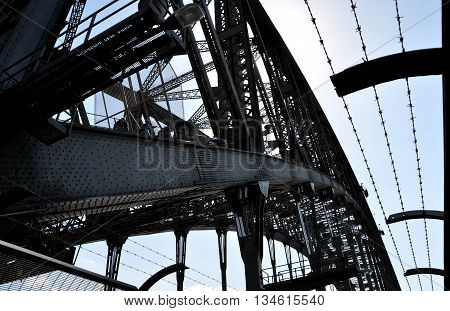 Sydney, Australia - September 14, 2014: Iron, steel, metal, barb wire. Harbour Bridge, one of most photographed landmarks. It's the worlds largest steel arch bridge.
