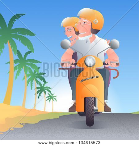 Old people driving scooter along palm trees vector illustration