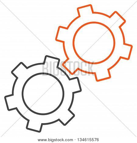 Gears vector icon. Style is stroke bicolor flat icon symbol, orange and gray colors, white background.