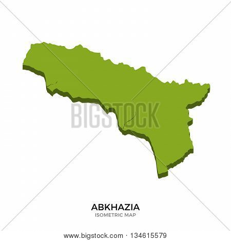 Isometric map of Abkhazia detailed vector illustration. Isolated 3D isometric country concept for infographic