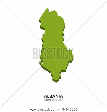 Isometric map of Albania detailed vector illustration. Isolated 3D isometric country concept for infographic