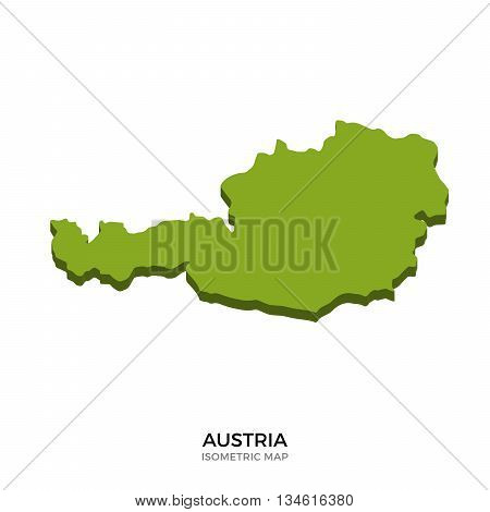 Isometric map of Austria detailed vector illustration. Isolated 3D isometric country concept for infographic