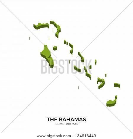 Isometric map of Bahamas detailed vector illustration. Isolated 3D isometric country concept for infographic