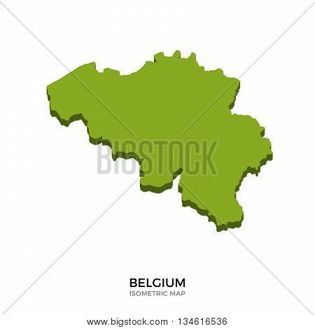 Isometric map of Belgium detailed vector illustration. Isolated 3D isometric country concept for infographic