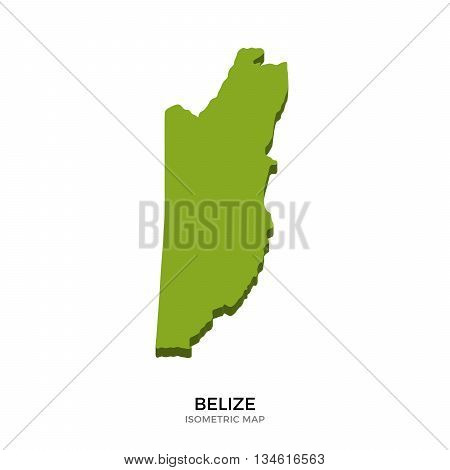 Isometric map of Belize detailed vector illustration. Isolated 3D isometric country concept for infographic