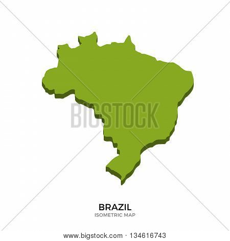 Isometric map of Brazil detailed vector illustration. Isolated 3D isometric country concept for infographic