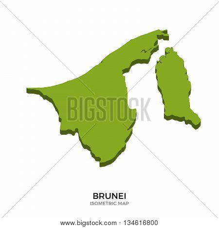 Isometric map of Brunei detailed vector illustration. Isolated 3D isometric country concept for infographic