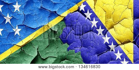 Solomon islands flag with Bosnia and Herzegovina flag on a grung