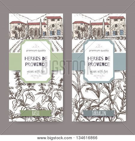 Two Herbes de Provence labels with Provence mansion landscape, basil and tarragon sketch on white. Culinary herbs collection. Great for cooking, medical, gardening design.