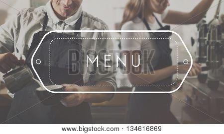 Menu Choice Cafe Computer Digital Food Options Concept