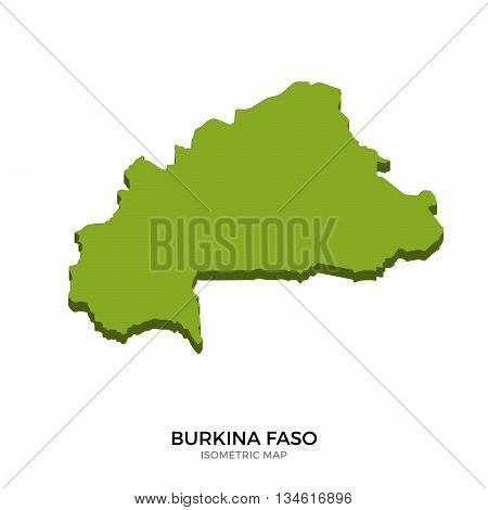Isometric map of Burkina Faso detailed vector illustration. Isolated 3D isometric country concept for infographic