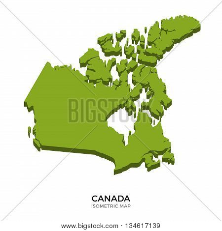 Isometric map of Canada detailed vector illustration. Isolated 3D isometric country concept for infographic
